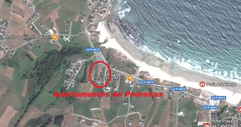 mapa imagen aerea apartamentos as predreiras playa de las catedrales y arealonga
